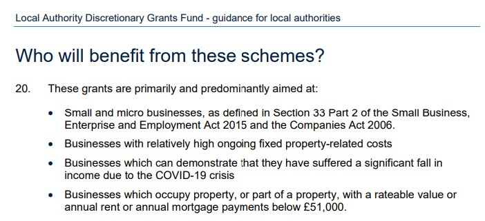Local Authority Discretionary Grants Fund – guidance for local authorities